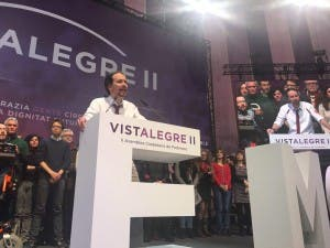Pablo Iglesias makes his victory speech following his re-election as Podemos's general secretary