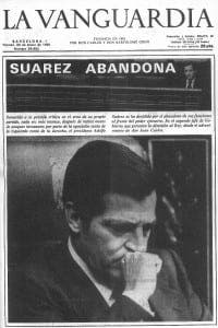 A newspaper reveals Adolfo Suarez's resignation from role of prime minister
