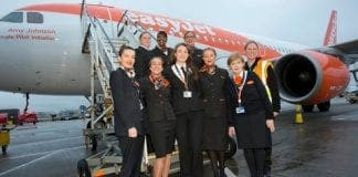 All female crew operate flight to spain for International Womens Day