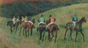 Edgar Degas's Race Horses in a Landscape