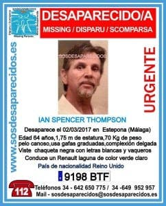 Missing person agency SOS Desaparacidos has created a poster to try help find Ian Thompson
