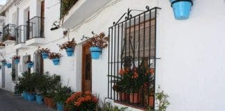 Main piece Mijas street with flower pots e