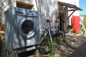 A bicycle powered washing machine
