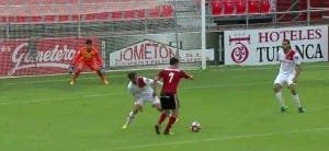 HUMILIATION: Iker Guarrotxena puts Mirandes 2-0 up against Mallorca