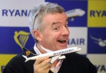 RYanair boss Michael O Leary smiling