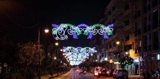 christmas decoration in the street of estepona andalusia spain