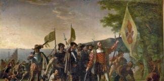 Columbus arriving in west Indies e