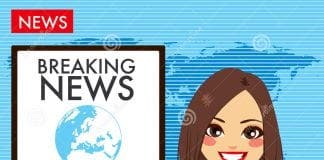 young woman tv newscaster beautiful reporting news sitting studio
