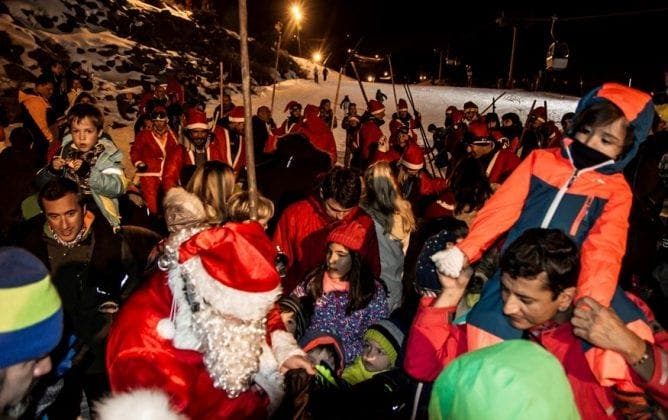Santa Claus arrives on the slopes at Sierra Nevada