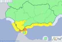 andalucia orange and yellow weather