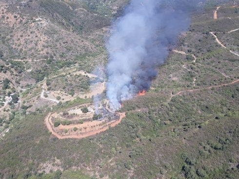 WATCH: Two helicopters and 55 firefighters battling wildfire on Spain's Costa del Sol