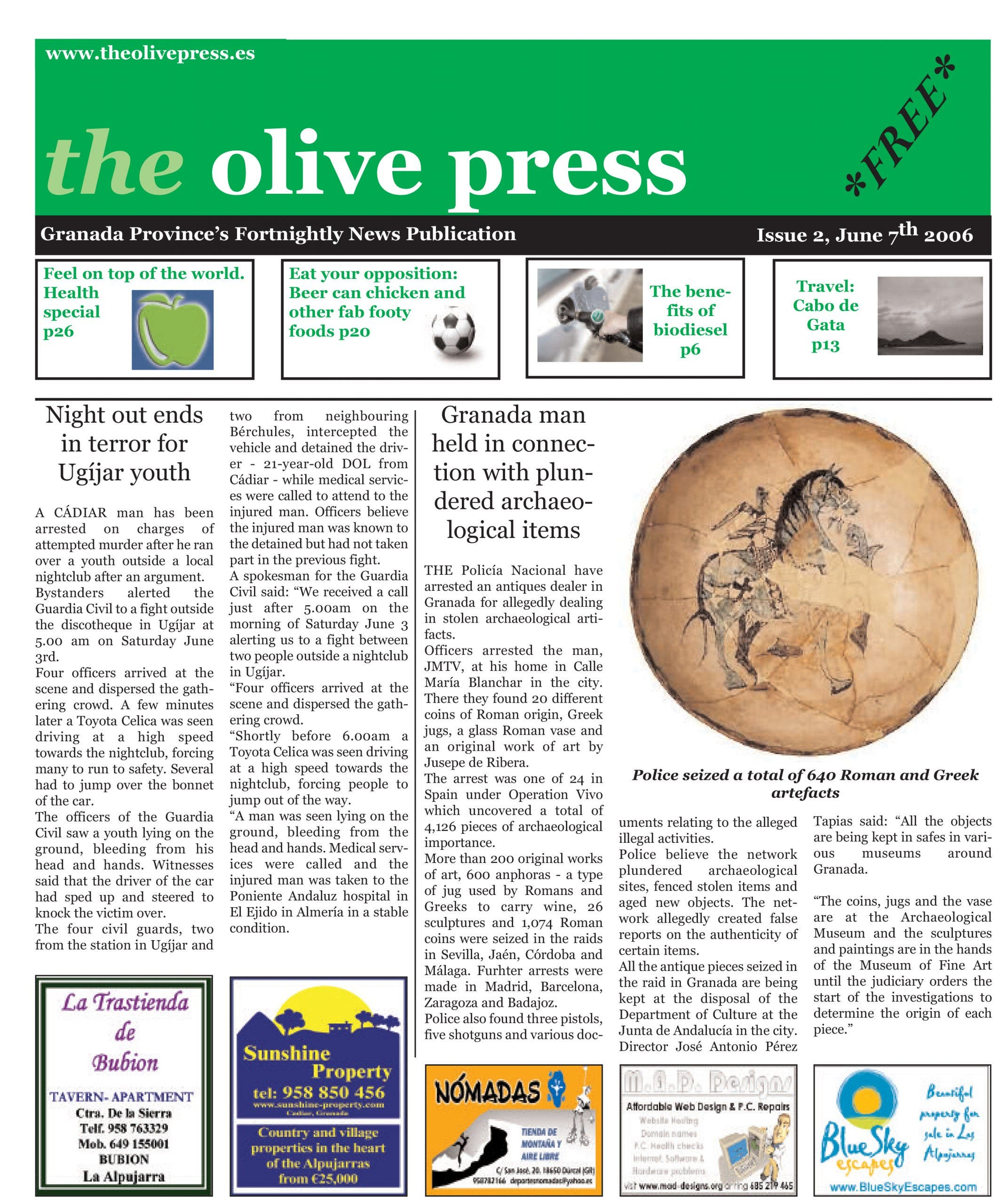 Olive Press Issue 2 Front Page