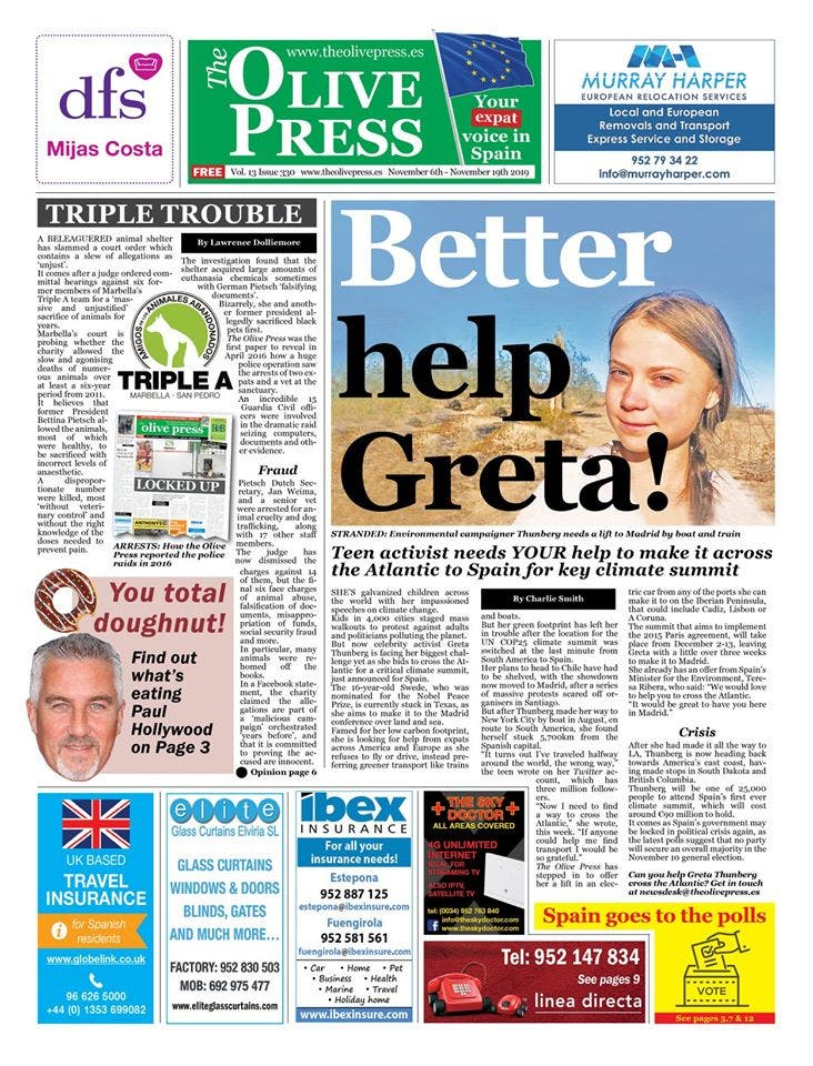 Olive Press Front Page