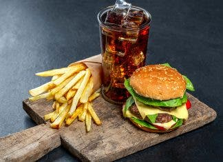 Delicious Junk Food Burger Iced Drink And Fries