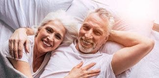 Senior Couple Couple In Bed Couple Holding Couple Smiling Smiling Happy