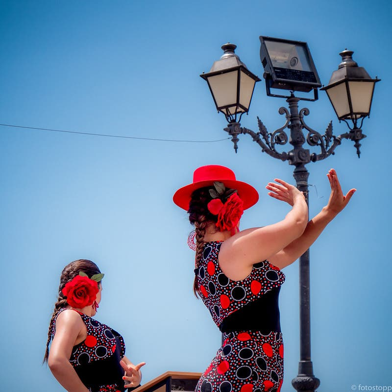 Two Ladies Dancing Sevillanas