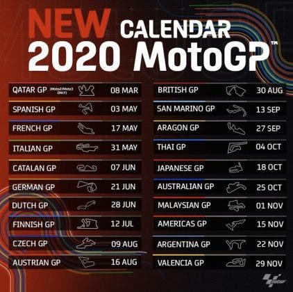 Covid 19 Motogp Calendar To Start In Spain After First Races Postponed Due To Coronavirus Pandemic Olive Press News Spain