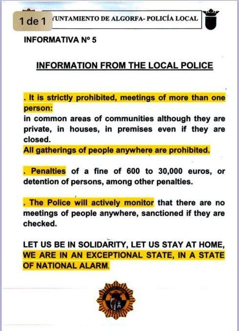 Algorfa Town Hall Notice
