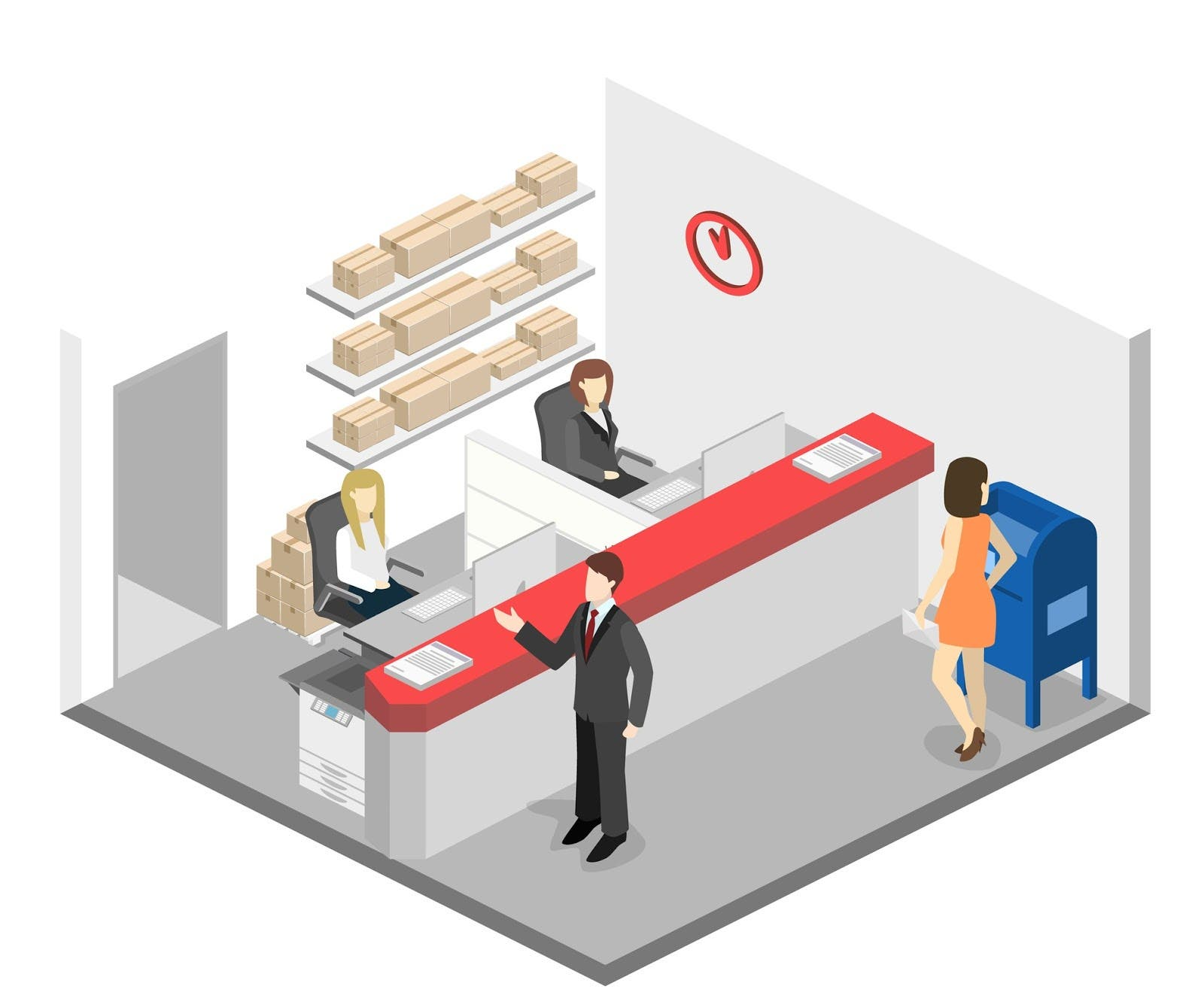 Isometric Flat 3d Interior Of Post Office Vector Illustration Post Service