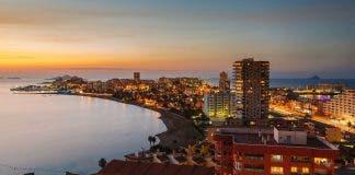 La Manga Del Mar Menor Skyline At Night  Murcia  Spain