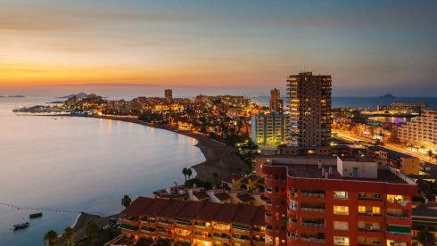 La Manga Del Mar Menor Skyline At Night Murcia Spain