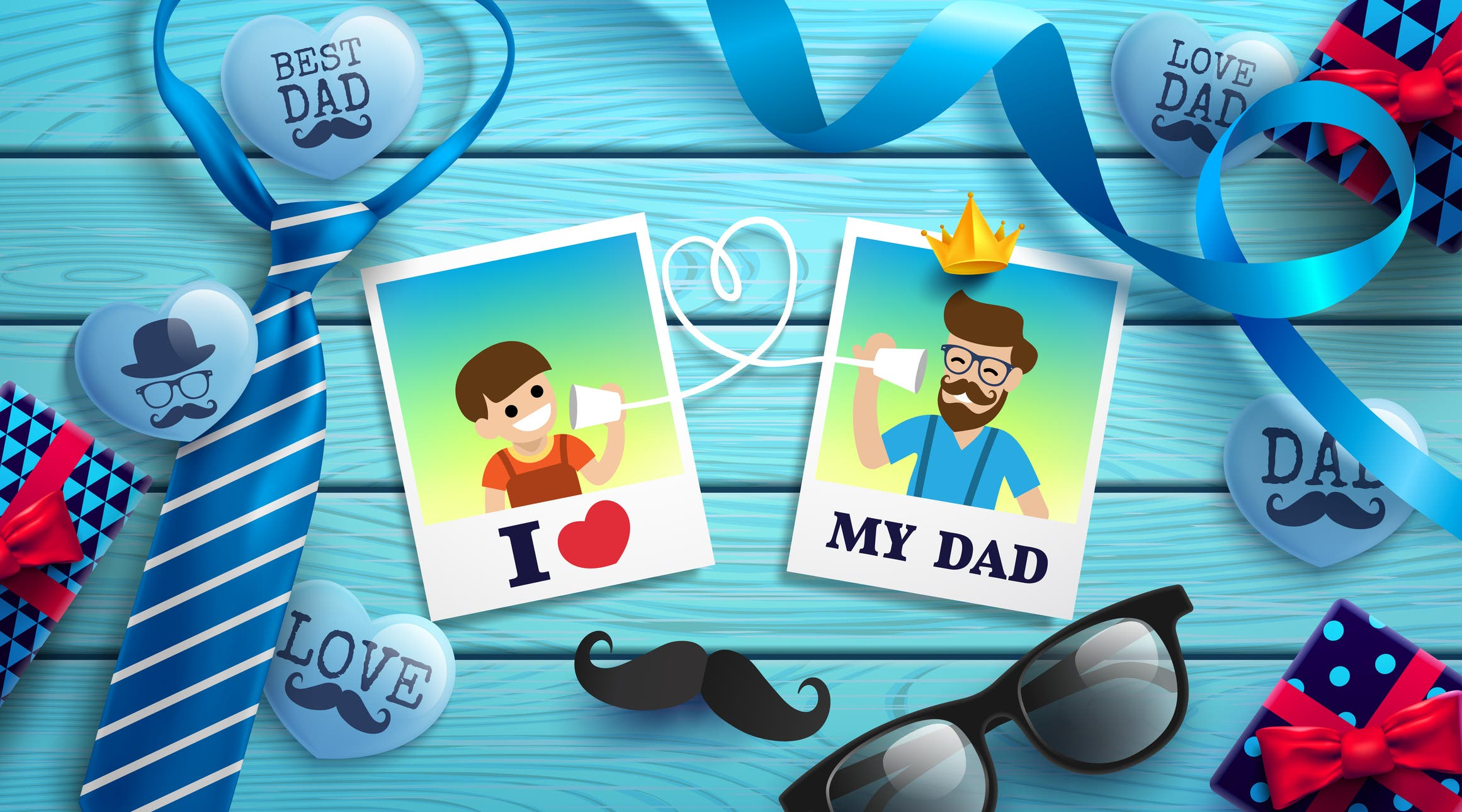 Happy Father S Day Flat Lay Style With Polaroid Frame Of Dad Photo And Boy Necktie Glasses And Gift Box On Wood Table Promotion And Shopping Template For Father S Day Vector Illustration Eps10