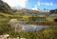 Green Spain Landscape Mountains Asturias Lake