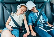 Kids Sleeping On Backseats Of Car