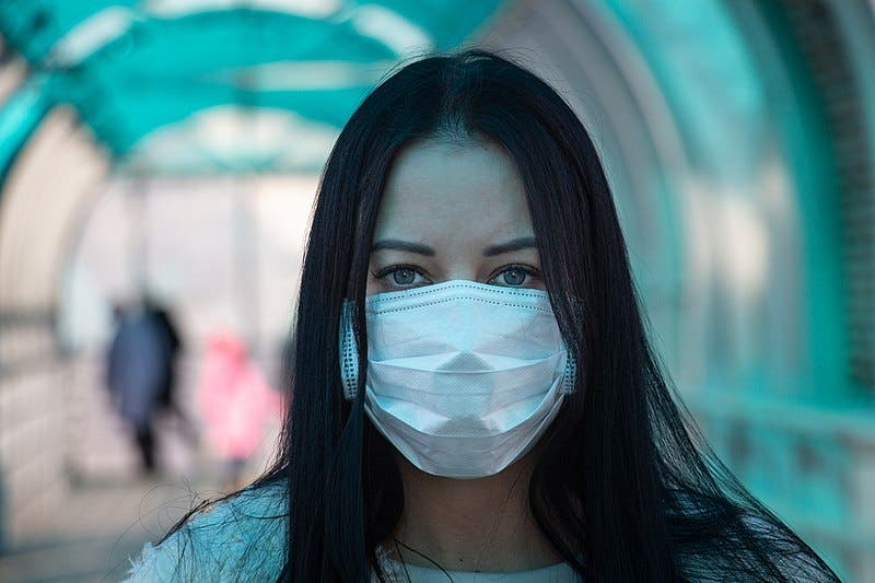 Coronavirus Covid 2019 Girl In Mask Fear