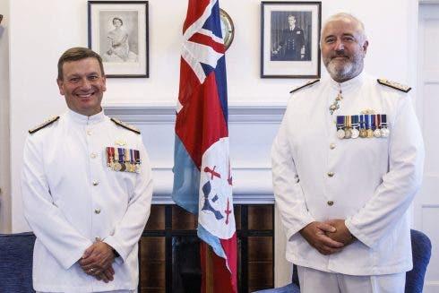Commander British Forces Handover From Cdre Tim Henry To Cdre Steven Dainton