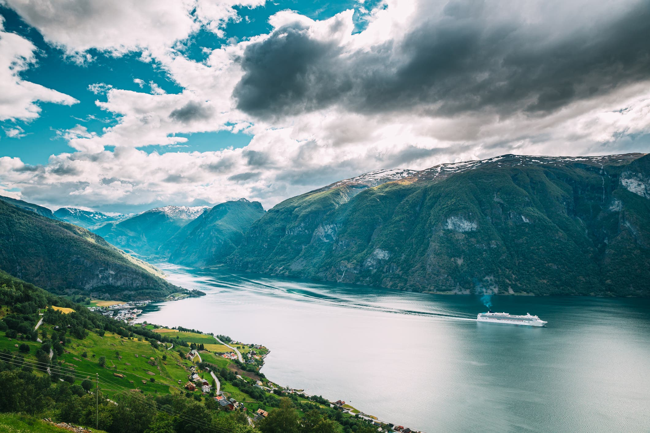 Aurland Sogn And Fjordane Fjord Norway Amazing Summer Scenic View Of Sogn Og Fjordane Ship Or Ferry Boat Liner Floating In Famous Norwegian Natural Landmark And Popular Destination In Summer Day