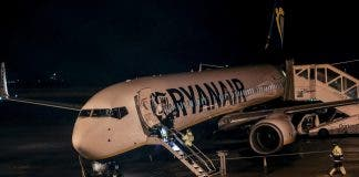 A Ryanair plane after landing