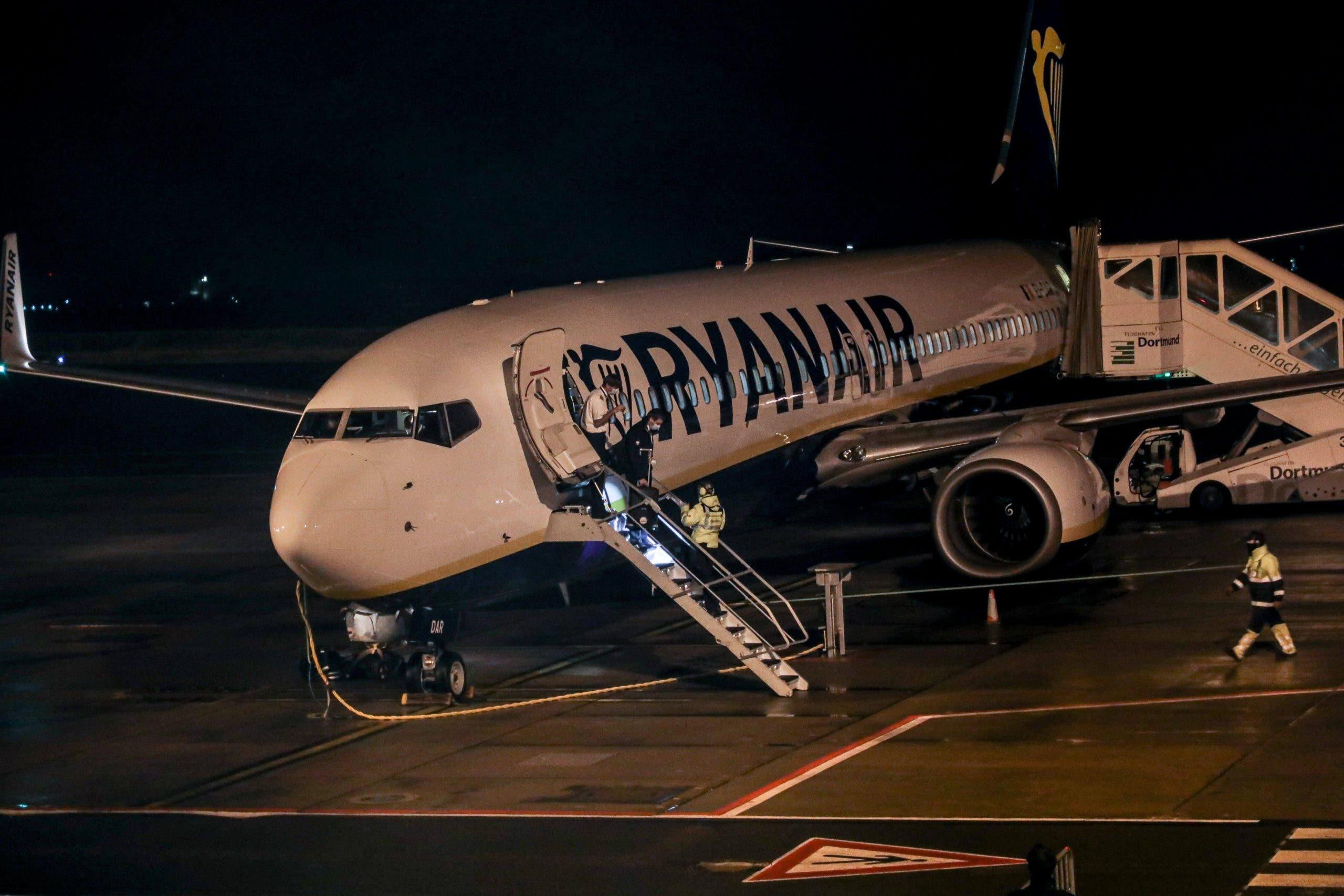 A Ryanair plane after landing