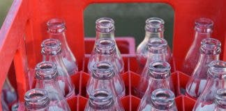 Glass drinks bottles ready to be reused