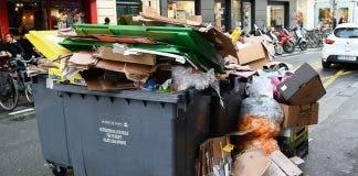 A rubbish container