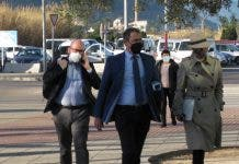 Jody Smart (right) arriving at Denia courthouse yesterday with her legal team