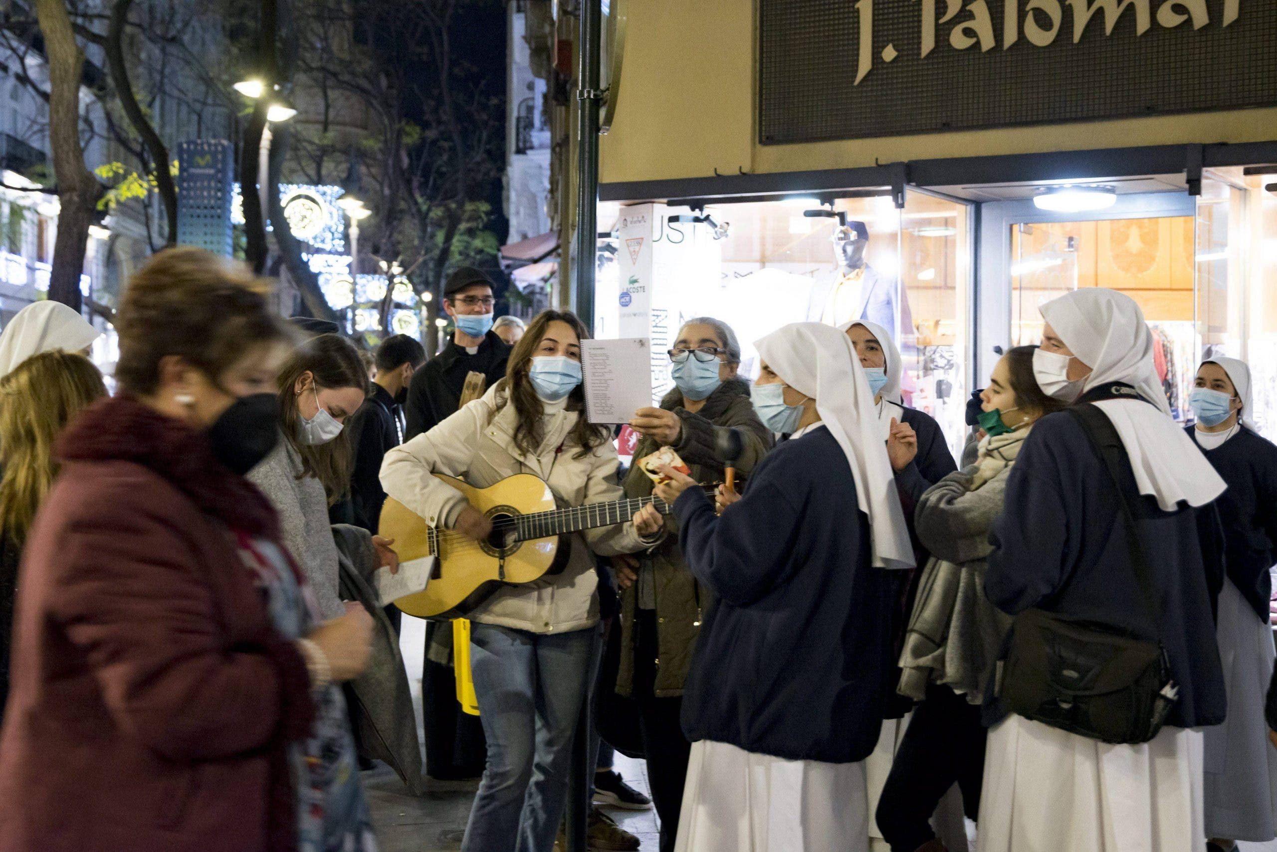 A group of nuns singing carols in Valencia over Christmas
