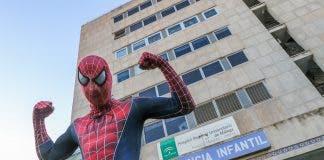 Spiderman outside Malaga maternity hospital in December