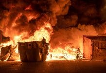 A burning rubbish container in Barcelona