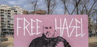 Graffiti Day For The Freedom Of Rapper Pablo Hasel In Barcelona Spain 07 Feb 2021