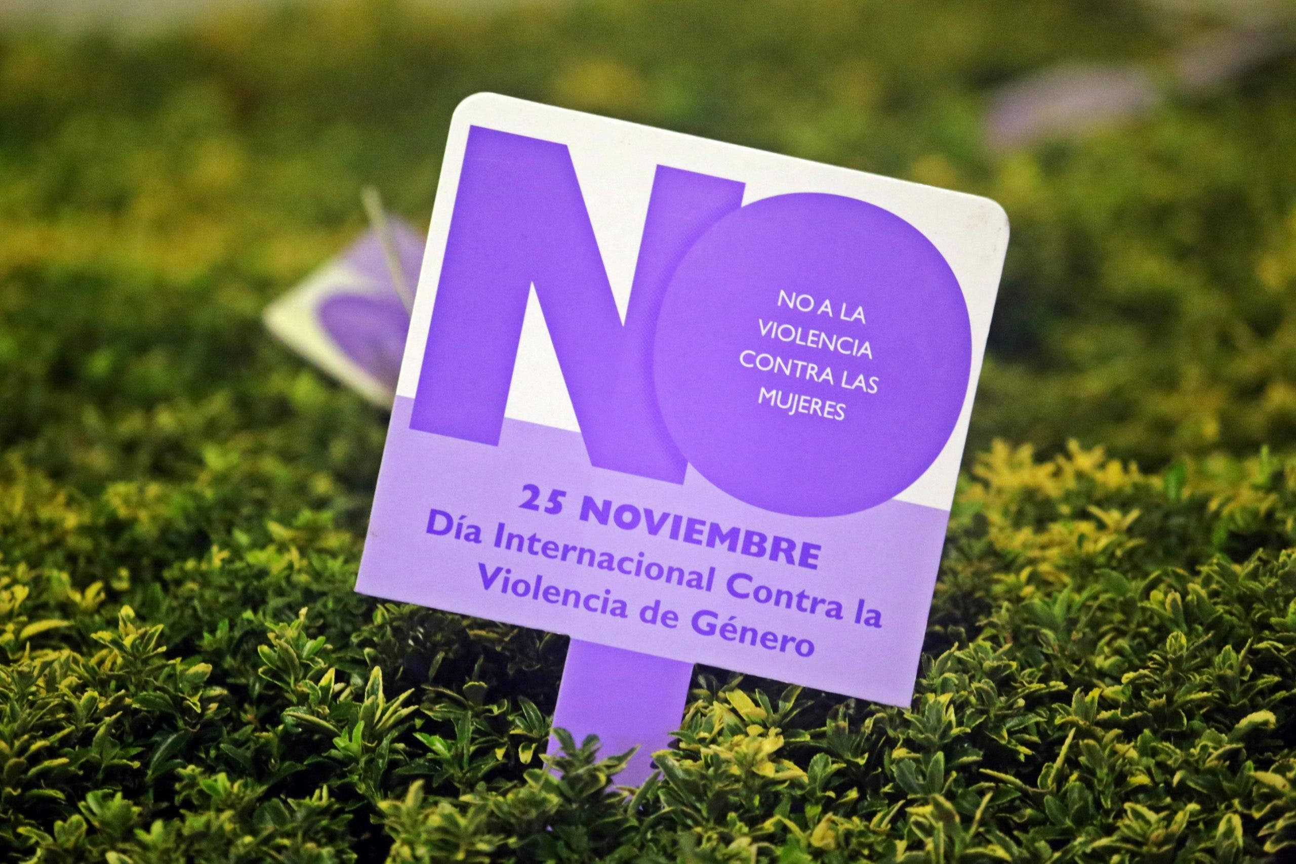 A sign marking International Day for the Elimination of Violence against Women on November 25