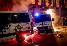 Police van set alight