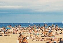 Busy beach in Barcelona