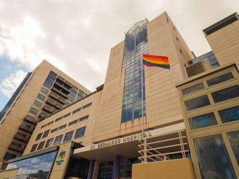 Rainbow Flags Raised Outside The St Bernardo Hospital