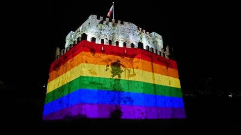 The Moorish Castle Lit Up Last Night With The Colours Of The Lgbtq+ Flag.