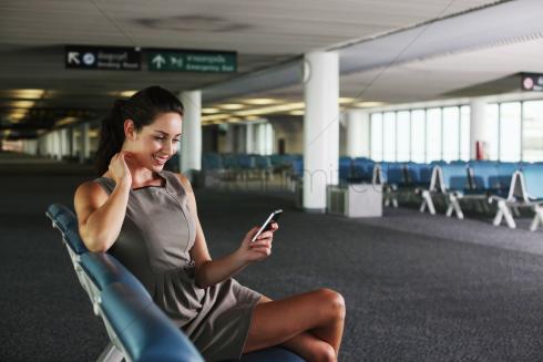 Girl Airport Phone