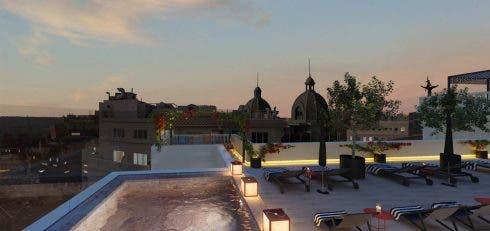 Gran Via Madrid Rooftop Night Render