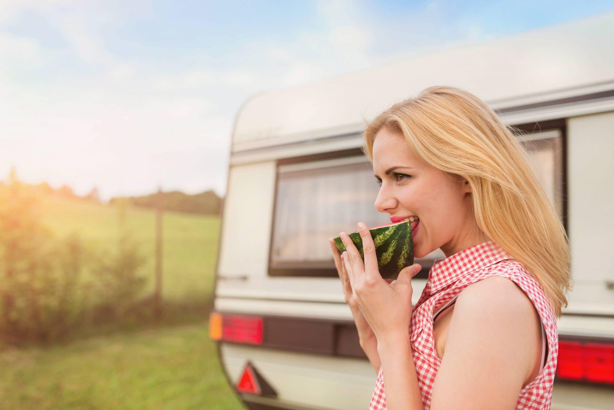 Beautiful Woman Outside The Camper Van
