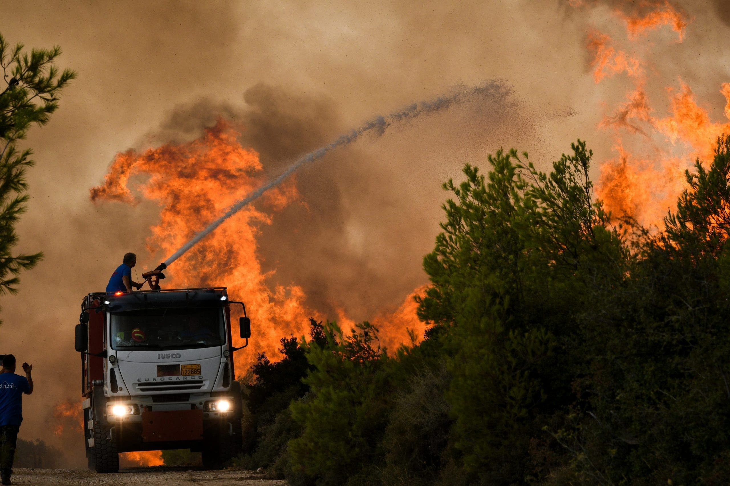 Forest Fires Rage Near Athens, Greece