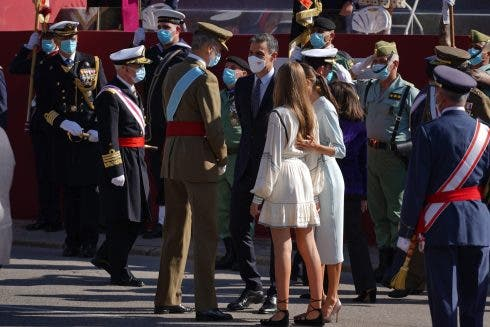 Spanish King Felipe Vi And Queen Letizia Ortiz With Daughter Sofia De Borbon Attending A Military Parade During The Known As Dia De La Hispanidad, Spain's National Day, In Madrid, 12, October 2021